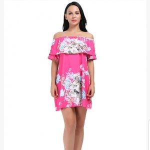 Dresses & Skirts - Elastic neck sleeve strapless floral dress